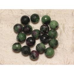 2pc - Perles de Pierre - Rubis Zoïsite Boules Facettées 12mm 4558550032492