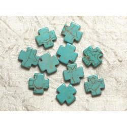 10pc - Perles de Turquoise synthèse Croix Bleu Turquoise 15mm 4558550032539