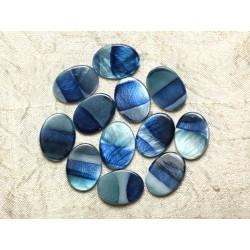 5pc - Perles de Nacre Ovales 20x15mm Bleues zébrées 4558550032737