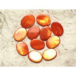 5pc - Perles de Nacre Ovales 20x15mm Oranges irisées 4558550032744