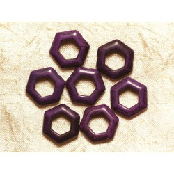 10pc - Perles Turquoise synthèse Hexagones 22mm Violet 4558550032874