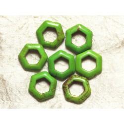 10pc - Perles Turquoise synthèse Hexagones 22mm Vert 4558550032928