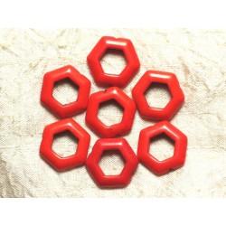 10pc - Perles Turquoise synthèse Hexagones 22mm Orange 4558550032980