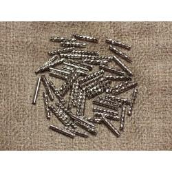 Sac 10pc - Perles Tubes Métal Argenté Plaquage Rhodium 10mm 4558550033086