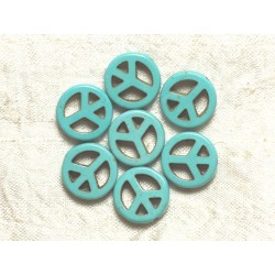 10pc - Perles Turquoise synthèse Peace and Love Turquoises 15mm 4558550033215