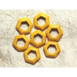 10pc - Perles Turquoise synthèse Hexagones 22mm Jaune 4558550033253