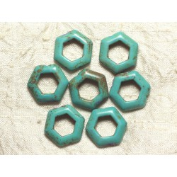 10pc - Perles Turquoise synthèse Hexagones 22mm Bleu Turquoise 4558550033307