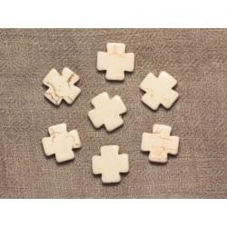 10pc - Perles de Pierre - Turquoise synthèse reconstituée Croix 15mm blanc - 4558550033338