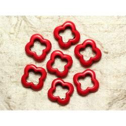 10pc - Perles Turquoise de Synthèse Fleurs 20mm Rouges 4558550033383