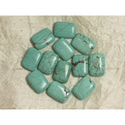 4pc - Perles Turquoise synthèse - Rectangles 18mm Bleu Turquoise 4558550033529
