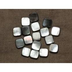 4pc - Perles de Nacre Noire naturelle Carrés 12mm - 4558550033550