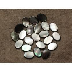 4pc - Perles Nacre noire naturelle Ovales 14x10mm - 4558550033628