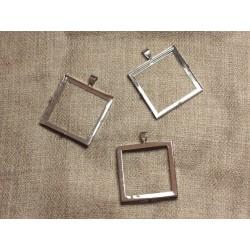 Support Pendentif Métal Argenté Plaqué Rhodium Carré 30mm - 4pc 4558550033727