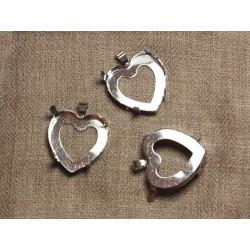 5pc - Support Pendentif Métal Argenté Plaqué Rhodium Coeur 25mm - 4558550033765
