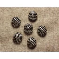 Perle Métal Argenté Plaquage Rhodium Boule Spirale 18mm - 1pc 4558550033802