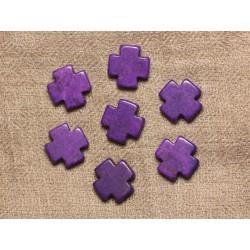 10pc - Perles de Turquoise synthèse Croix Violettes 15mm 4558550033987