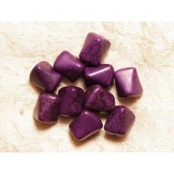 10pc - Perles de Pierre-Turquoise synthèse Nuggets Violets 12mm 4558550034151