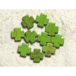 10pc - Perles de Pierre-Turquoise synthèse Croix Vertes 15mm 4558550034311