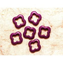 10pc - Perles Turquoise de Synthèse Fleurs 20mm Violet 4558550034342
