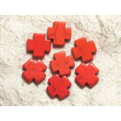 10pc - Perles de Turquoise synthèse Croix Oranges 15mm 4558550034618