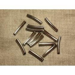 20pc - Perles Métal Argenté Rhodium Tubes 30x5mm perçage 4mm - 4558550034656