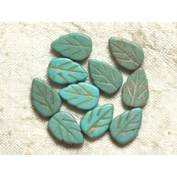 10pc - Perles Turquoise synthèse Feuilles Turquoises 14mm 4558550034694