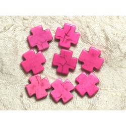 10pc - Perles de Turquoise synthèse Croix Roses 15mm 4558550034809