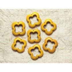 10pc - Perles Turquoise synthèse - Fleurs 20mm Jaune 4558550034953