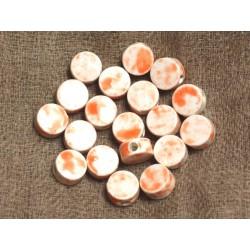 Perles de Céramique Blanc et Orange - 8x4 mm - Sac de 10pc 4558550035349