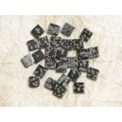 Sac 10pc - Perles de Pierre - Obsidienne Flocon Losanges 8mm 4558550035738