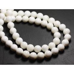 10pc - Perles de Nacre Blanche opaque Boules 4mm 4558550035745