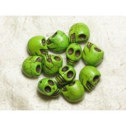 5pc - Perles Tête de Mort Crâne Turquoise 18x13 mm Verts 4558550035974