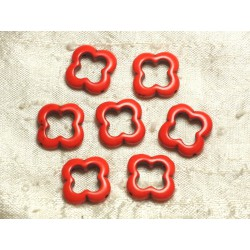 10pc - Perles en Turquoise de Synthèse - Fleurs 20mm Orange 4558550036018