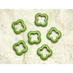 10pc - Perles en Turquoise de Synthèse - Fleurs 20mm Vert 4558550036063