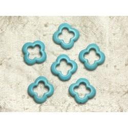 10pc - Perles en Turquoise de Synthèse - Fleurs 20mm Bleu Turquoise 4558550036407