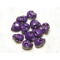 5pc - Perles Tête de Mort Crâne Turquoise 18x13 mm Violets 4558550036483