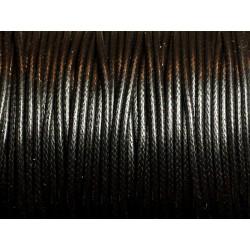 5 Mètres - Cordon de Coton Ciré 1.5mm Noir 4558550036582