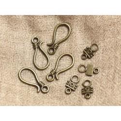 20pc - Fermoirs Crochets Métal Bronze Qualité 24mm 4558550036889