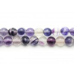 10pc - Perles de Pierre - Fluorite Violette Boules 10mm 4558550037053