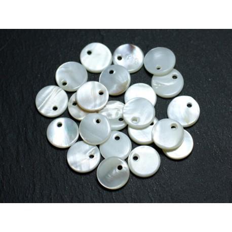 10pc - Perles Breloques Pendentifs Nacre Blanche Ronds 11mm 4558550037138