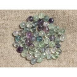 10pc - Perles de Pierre - Fluorite Multicolore Boules Facettées 6mm 4558550037329