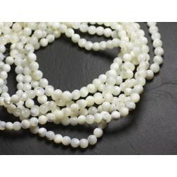 10pc - Perles de Nacre Blanche Irisée Boules 6mm 4558550037480