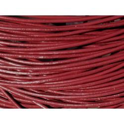 5m - Cordon Cuir Véritable Rouge foncé Bordeaux 2mm 4558550037534