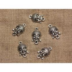 4pc - Perles Connecteurs Métal Argenté Rhodium Bouddha 23mm 4558550022097