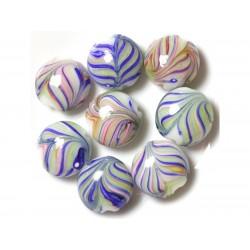4pc - Perles en Verre Palets 18mm Bleu Vert Rose Feuilles 4558550038043