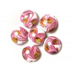 2pc - Perles en Verre Palets 25mm Blanc Vert Rose Feuilles 4558550038159
