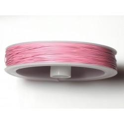 Bobine 100 mètres - Fil Métal Cablé 0.45mm Rose clair bonbon - 4558550038487