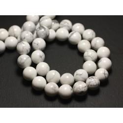 10pc - Perles de Pierre - Howlite Boules 10mm 4558550038883