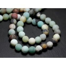 Fil 39cm 48pc env - Perles de Pierre - Amazonite Multicolore Boules 8mm Mat Sablé Givré