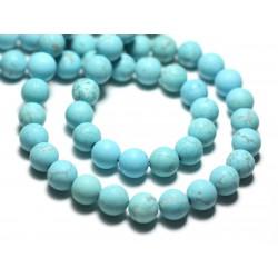 Fil 39cm 48pc env - Perles de Pierre - Magnésite Bleu Turquoise Boules 8mm Mat Sablé Givré